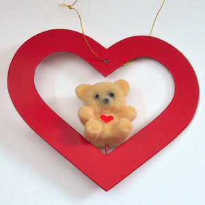 Valentine Teddy in Red Heart Ornament